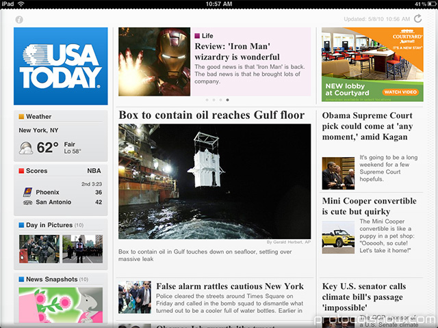 iPad Apple tablet USA Today news app