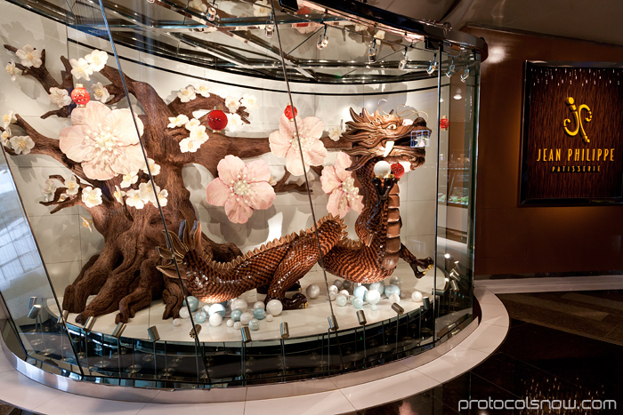 Las Vegas Chinese New Year dragon decorations celebration Aria hotel casino Chocolate dragon Jean Philippe