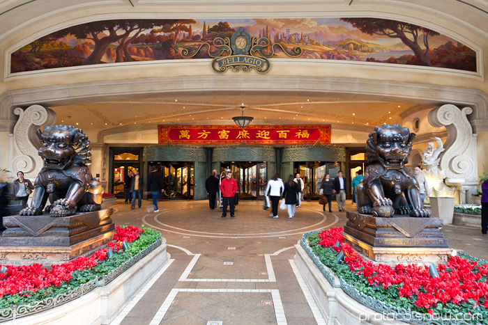 Las Vegas Chinese New Year dragon decorations celebration Bellagio hotel casino entrance